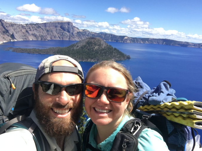 still smiling at Crater Lake